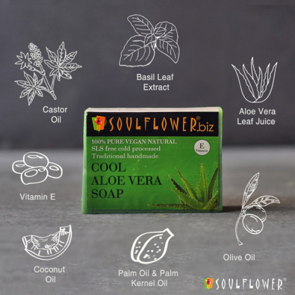 Soulflower Cool Aloe Vera Soap, 150gm