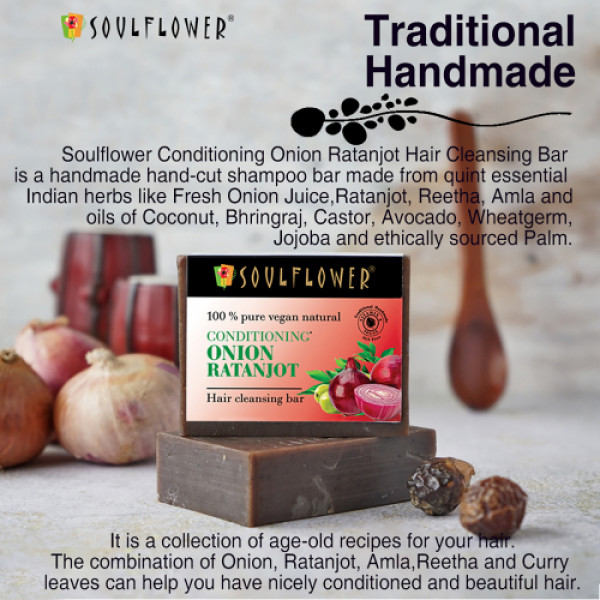 Soulflower Conditioning Onion Ratanjot Hair Cleansing Bar, 150gm