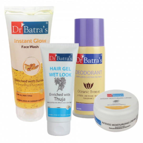 Dr Batra's Hair Gel, Instant Glow Face Wash, Deo For Men with Intense Moisturizing Cream