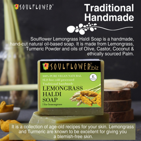 Soulflower Lemongrass Haldi Soap, 150gm