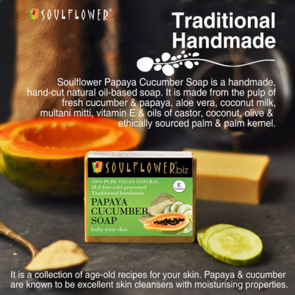Soulflower Papaya Cucumber Soap, 150gm