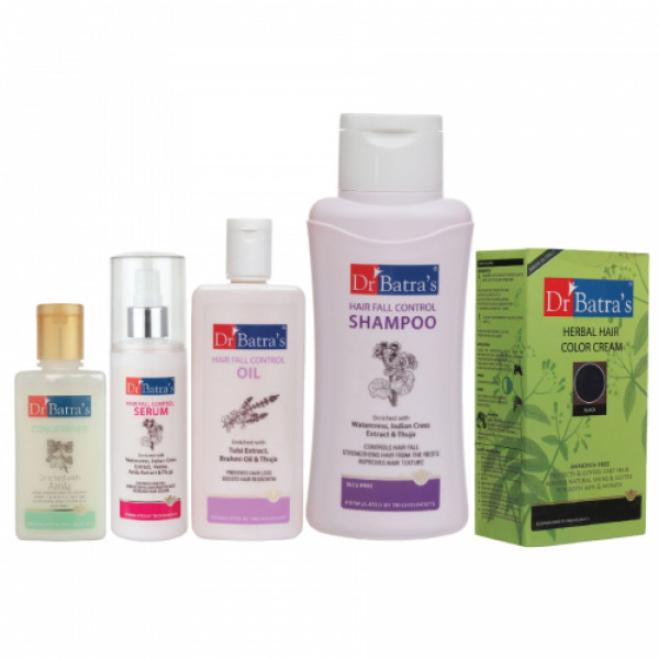 Dr Batra's Hair Fall Control Serum, Conditioner, Oil, Shampoo with Herbal Hair Color Black