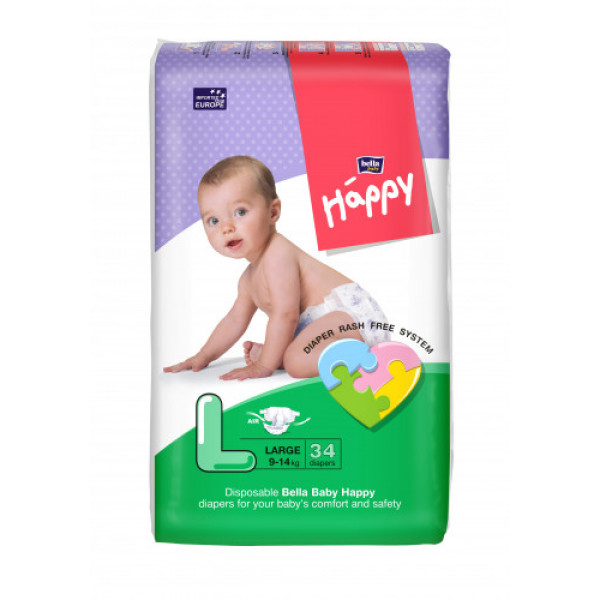 Bella Baby Happy Diapers Large, 34 Pieces