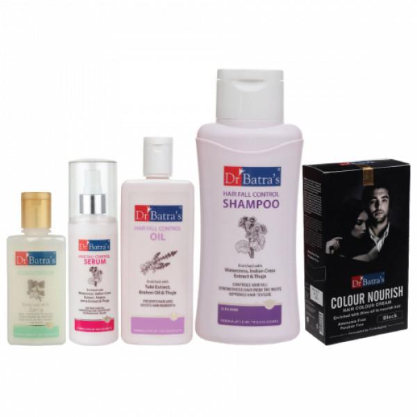 Dr Batra's Hair Fall Control Serum, Conditioner, Hair Oil, Shampoo and Nourish Hair Color Black