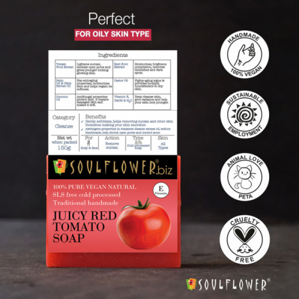 Soulflower Juicy Red Tomato Soap, 150gm