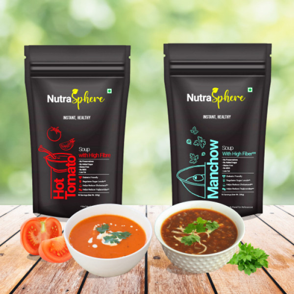NutraSphere Hot Tomato and Manchow Instant Soup Mix Powder with High Fiber, 10 Sachets (Pack Of 2)