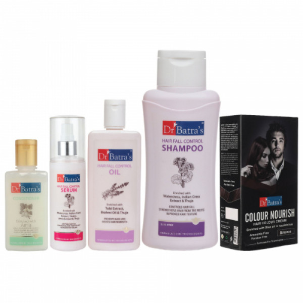 Dr Batra's Hair Fall Control Serum, Conditioner, Hair Oil, Shampoo and Nourish Hair Color Brown