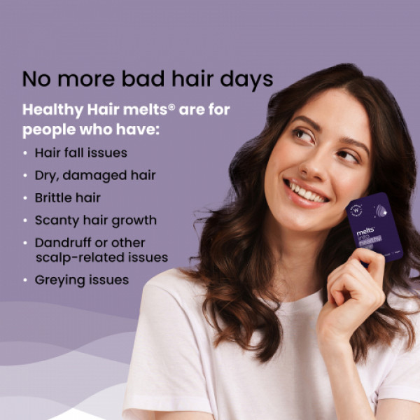 Wellbeing Nutrition Melts Healthy Hair with Plant Based Biotin 10000mcg+
