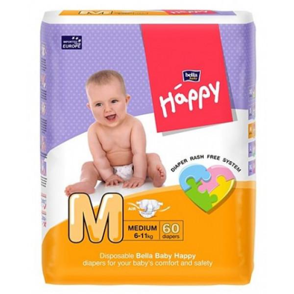 Bella Baby Happy Diapers Medium, 60 Pieces