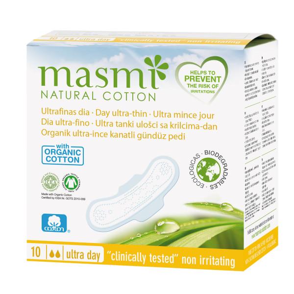 Masmi Organic Cotton Sanitary Pads (Ultra Day Wings), 10's