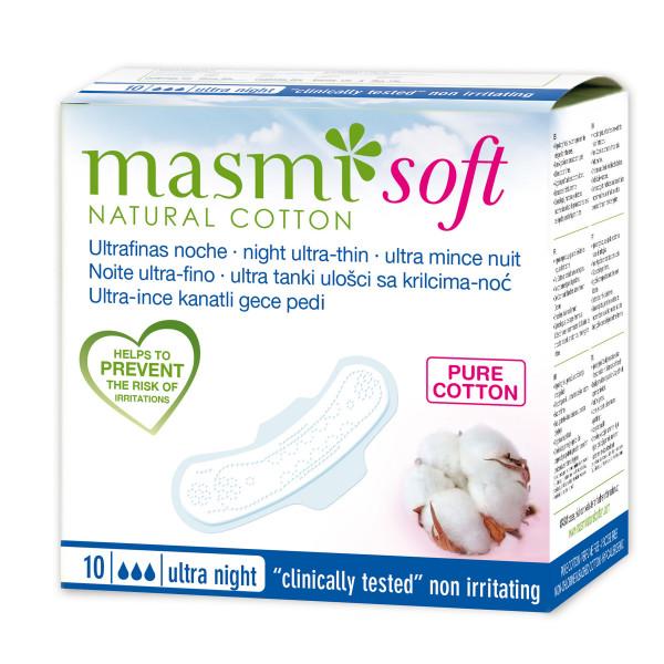 Masmi Pure Cotton Soft Sanitary Pads (Ultra Soft Night), 10 Units