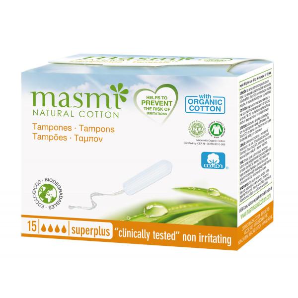 Masmi Organic Cotton Non-Applicator or Digital Super Plus, 15 Tampons