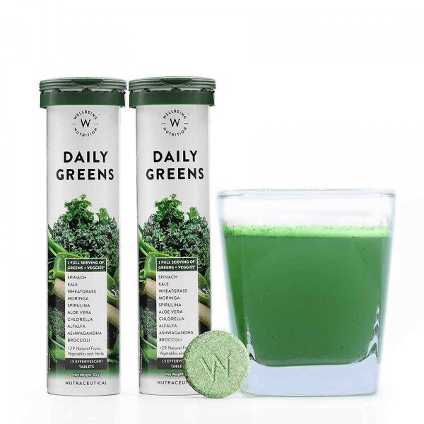 Wellbeing Nutrition Daily Greens Wholefood Multivitamin for Immunity and Detox, 30 Tablets