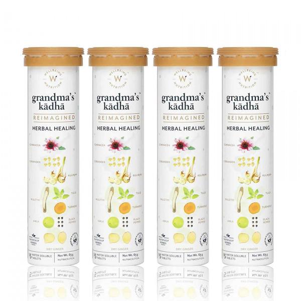 Wellbeing Nutrition Grandma's Kadha - Ayurvedic Kadha for Immunity, Cold & Cough, 60 Tablets