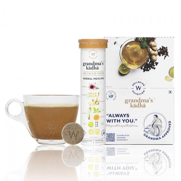 Wellbeing Nutrition Grandma's Kadha - Ayurvedic Kadha for Immunity, Cold & Cough, 90 Tablets