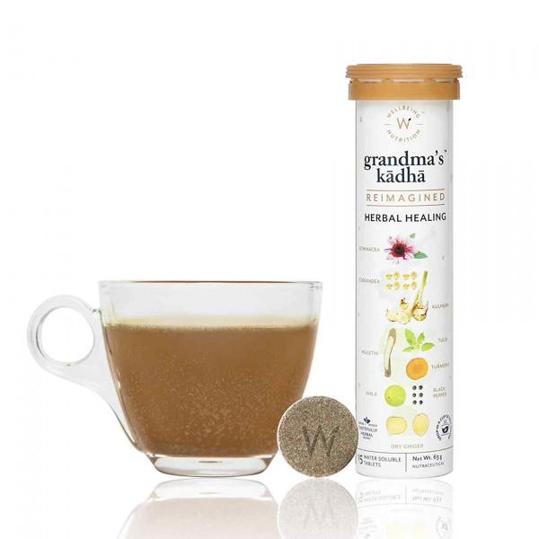 Wellbeing Nutrition Grandma's Kadha - Ayurvedic Kadha for Immunity, Cold & Cough, 15 Tablets