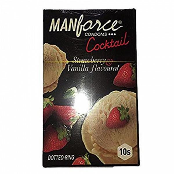 Manforce Strawberry & Vanilla Cocktail Condoms, 10 Pieces