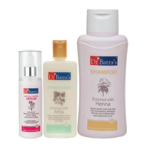 Dr Batra's Hair Fall Control Serum, 125ml & Conditioner, 200ml With Normal Shampoo, 500ml