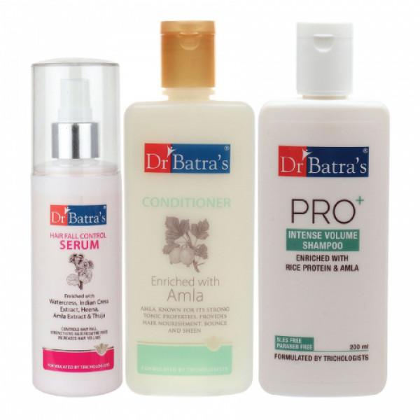 Dr Batra's Hair Fall Control Serum, 125ml & Conditioner, 200ml With Pro+ Intense Volume Shampoo, 200ml