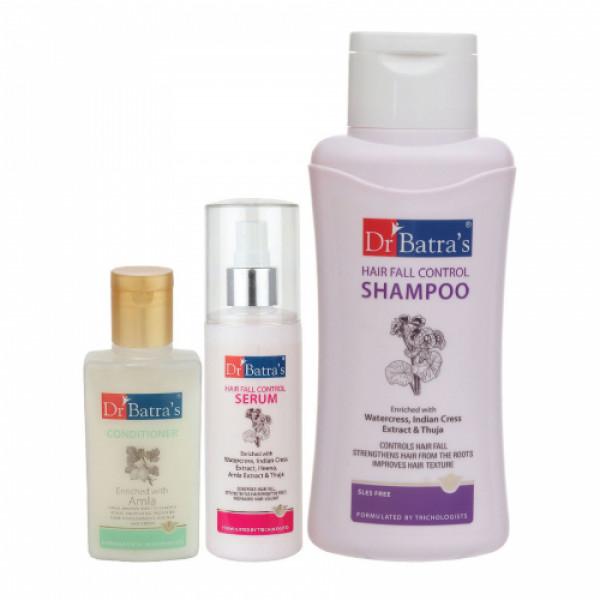 Dr Batra's Hair Fall Control Serum, 125ml & Conditioner, 100ml With Hair Fall Control Shampoo, 500ml