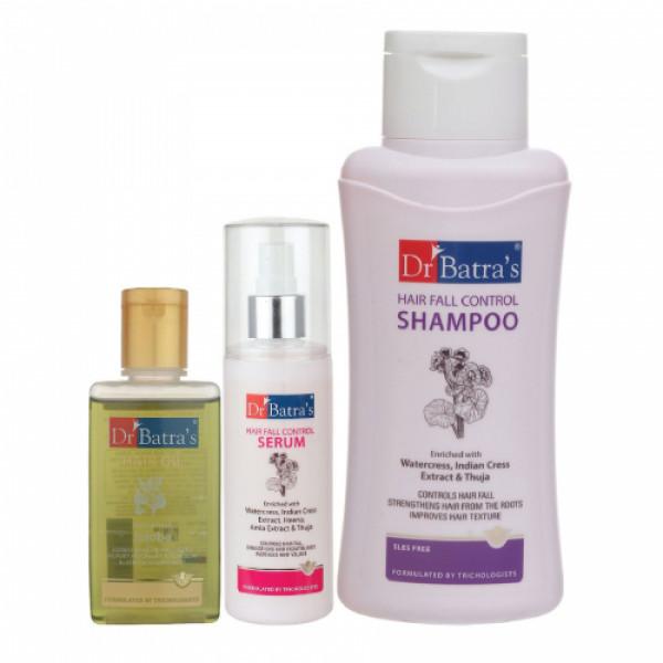 Dr Batra's Hair Fall Control Serum, 125ml & Hair Fall Control Shampoo, 500ml With Hair Oil, 100ml