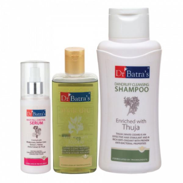 Dr Batra's Hair Fall Control Serum, 125ml & Dandruff Cleansing Shampoo, 500ml With Hair Oil, 200ml