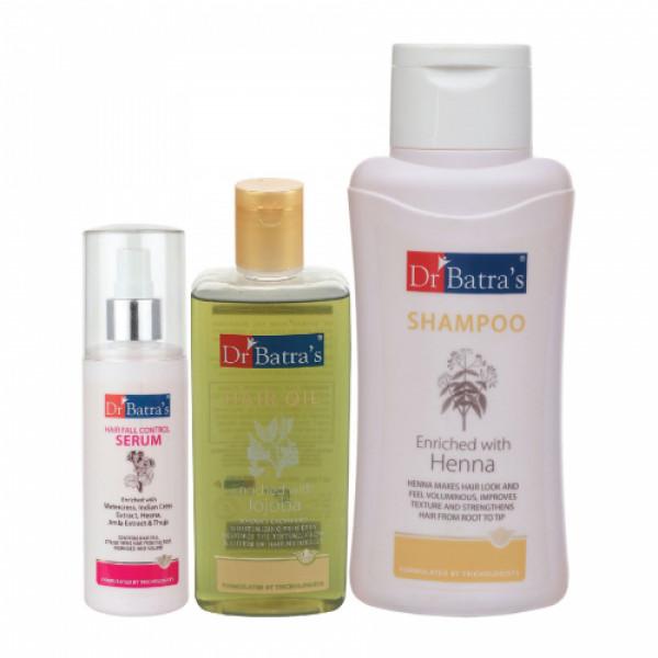 Dr Batra's Hair Fall Control Serum, 125ml & Normal Shampoo, 500ml With Hair Oil, 200ml