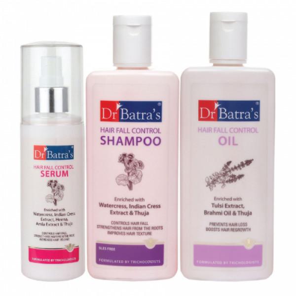 Dr Batra's Hair Vitalizing Serum, 125ml & Hairfall Control Shampoo, 200ml with Hair Fall Control Oil, 200ml Combo Pack