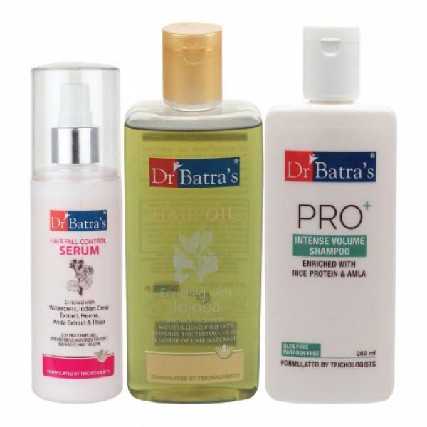 Dr Batra's Hair Fall Control Serum, 125ml & Pro+ Intense Volume Shampoo, 200ml With Hair Oil, 200ml