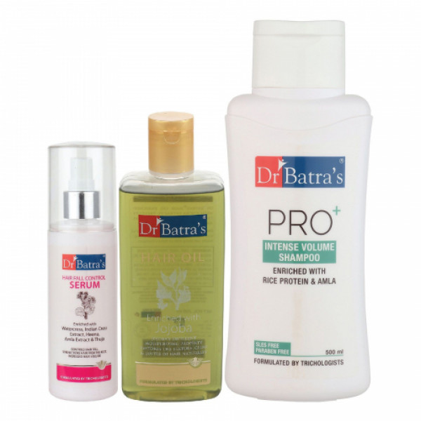 Dr Batra's Hair Fall Control Serum, 125ml & Pro+ Intense Volume Shampoo, 500ml With Hair Oil, 200ml