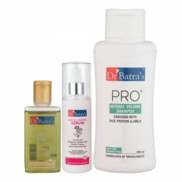 Dr Batra's Hair Fall Control Serum, 125ml & Pro+ Intense Volume Shampoo, 500ml With Hair Oil, 100ml