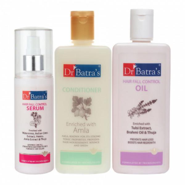 Dr Batra's Hair Fall Control Serum, 125ml & Conditioner, 200ml With Hair Fall Control Oil, 200ml