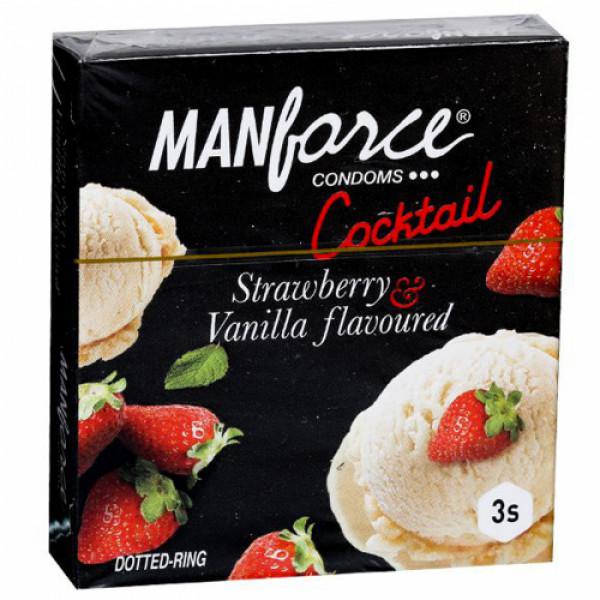Manforce Strawberry & Vanilla Cocktail Condoms, 3 Pieces