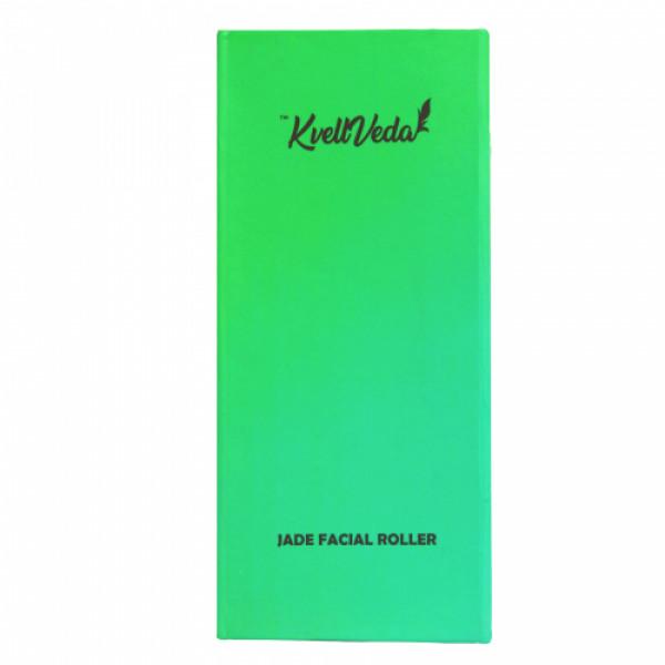 KvellVeda 100% Natural Jade Facial Roller & Rose Quartz Gua Sha Tool Combo