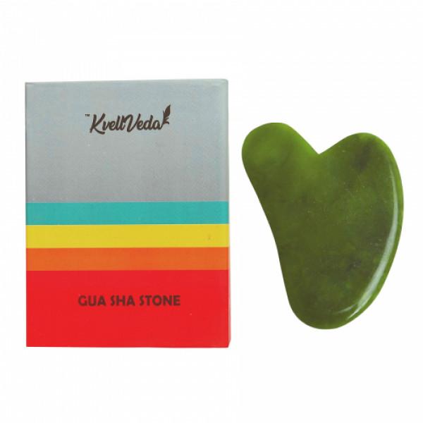 KvellVeda 100% Natural Rose Quartz Facial Roller & Jade Gua Sha Tool Combo