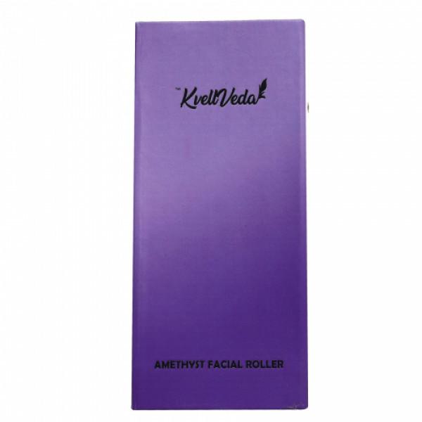KvellVeda 100% Natural Authentic Amethyst Facial Roller & Rose Quartz Gua Sha Tool Combo