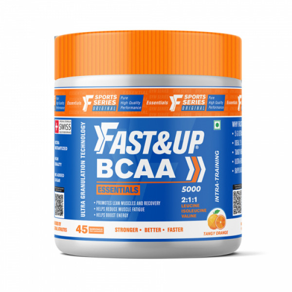 Fast&Up BCAA Essentials Pre&Post Workout & Intra Workout Orange Supplement, 45 Servings