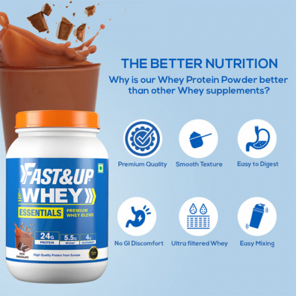 Fast&Up Whey Essentials Rich Chocolate Flavour, 30 Servings