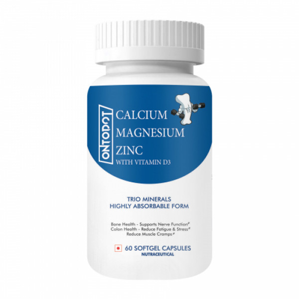 Ontodot Calcium Magnesium Zinc With Vitamin D3, 60 Softgels