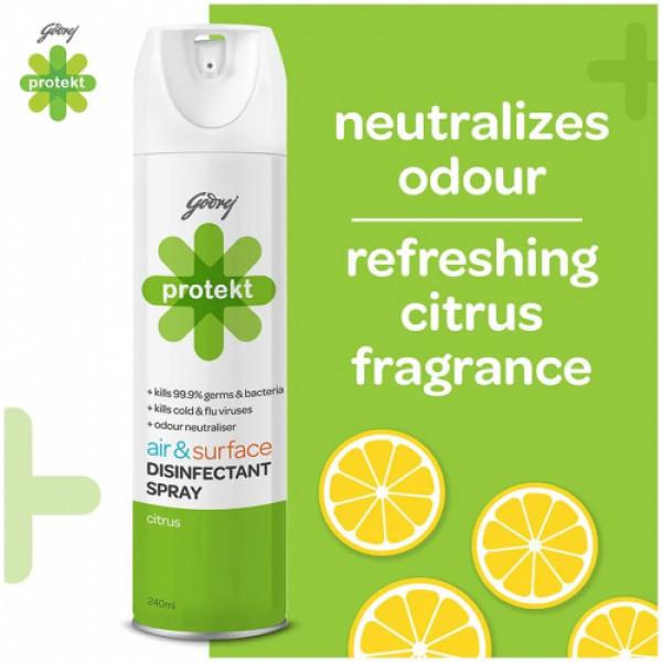 Godrej Protekt Air & Surface Disinfectant Spray Citrus Fragrance - Kills 99.9% Germs & Bacteria, 240ml