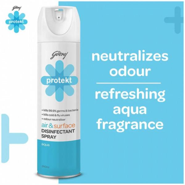 Godrej Protekt Air & Surface Disinfectant Spray Aqua Fragrance - Kills 99.9% Germs & Bacteria, 240ml