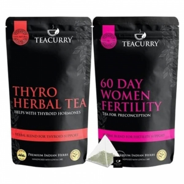 Teacurry 60 Day Women Fertility with 60 Day PCOS PCOD Tea Combo Pack (200gm Each)