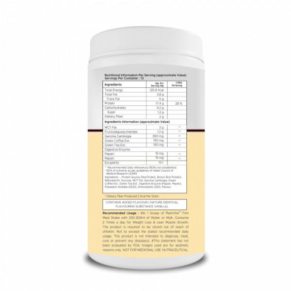PlantVita Trim Meal Shake For Weight Loss Vanilla,400gm