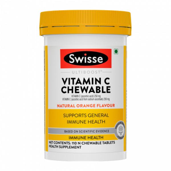 Swisse Ultiboost Vitamin C Chewable for Immunity - Natural Orange Flavour, 110 Tablets