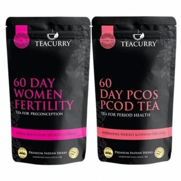Teacurry 28 Day Slimming Tea With 30 Day PCOS Tea Combo Pack (60 Tea Bags Each)