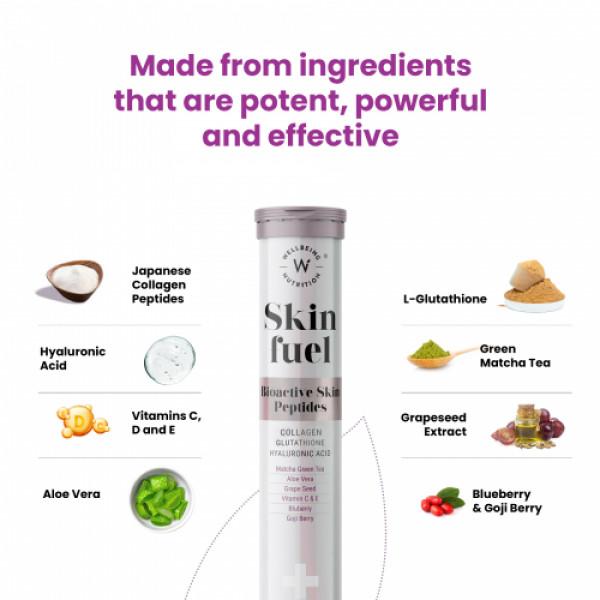 Wellbeing Nutrition Skin Fuel - Marine Collagen, L-Glutathione & Hyaluronic Acid, 15 Tablets