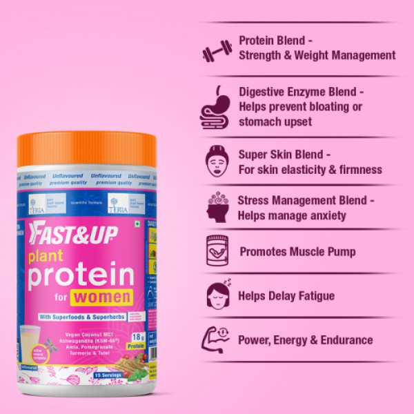 Fast&Up Plant Protein and Superfood Unflavoured for Women, 450gm