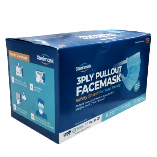 Sterimask 3 Ply Pullout Face Mask For Adult - 5057 (Blue), 50 Pieces