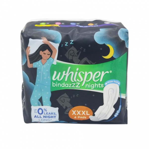 Whisper Ultra Nights Sanitary Pads XXXL, 4  Pieces