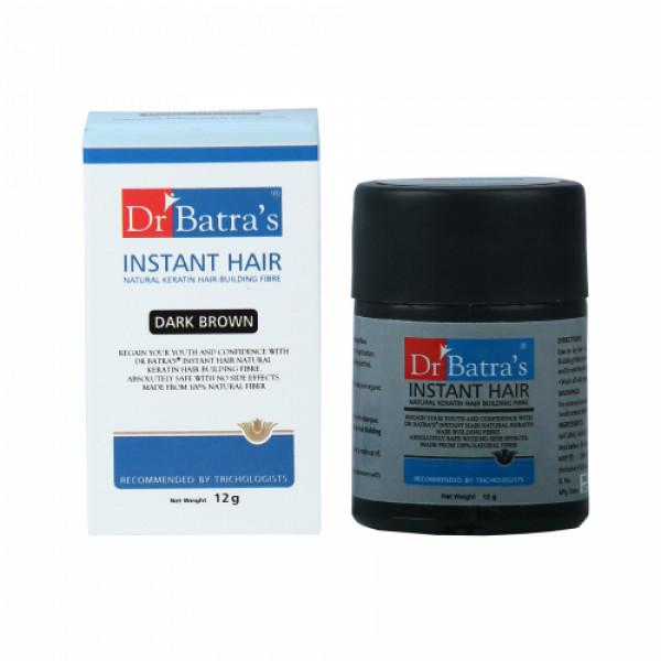Dr Batra's Instant Hair Natural keratin Hair Building Fibre, 12gm (Dark Brown)